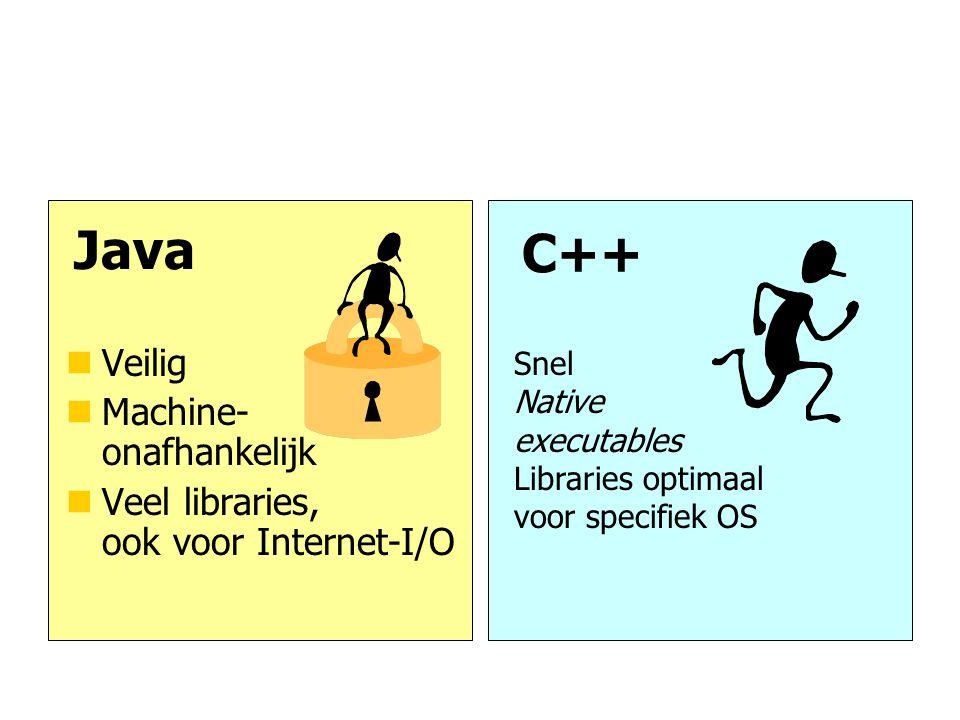 Java C++ nVeilig nMachine- onafhankelijk nVeel libraries, ook voor Internet-I/O Snel Native executables Libraries optimaal voor specifiek OS