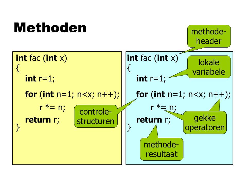 Boolean nVergelijk-operatoren leveren false of true nLogische operatoren en if/while-opdracht krijgen False of True n Vergelijk-operatoren leveren false/true, maar die zijn conver- teerbaar naar 0/1 n Logische operatoren en if/while-opdracht interpreteren u0 als false uandersals true < <= == != &&    !