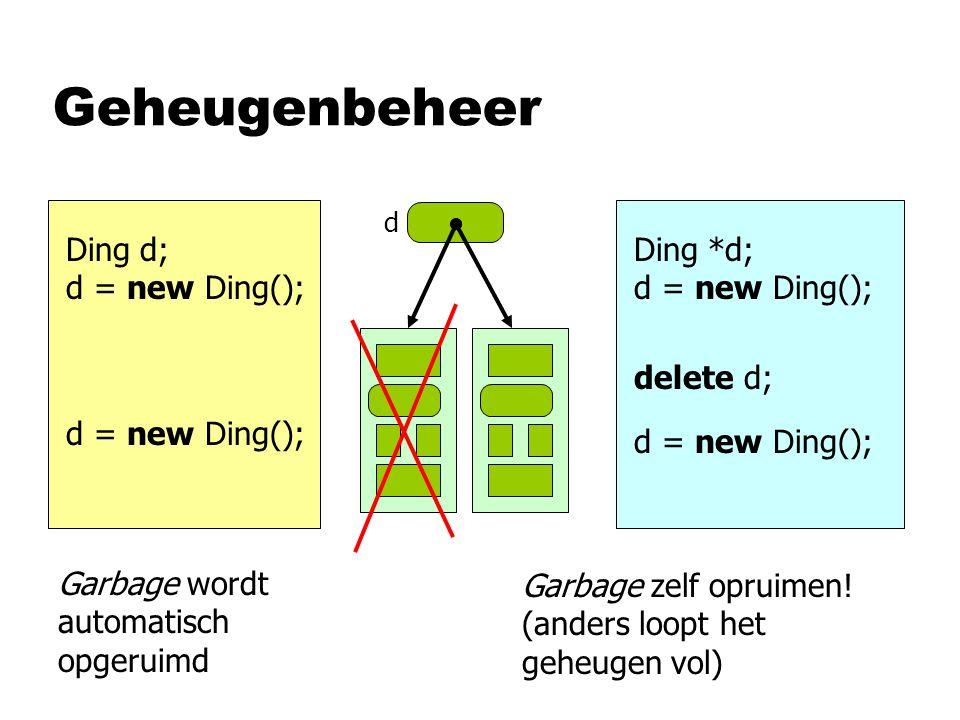 Geheugenbeheer Ding d; d = new Ding(); d Ding *d; d = new Ding(); delete d; Garbage wordt automatisch opgeruimd Garbage zelf opruimen! (anders loopt h
