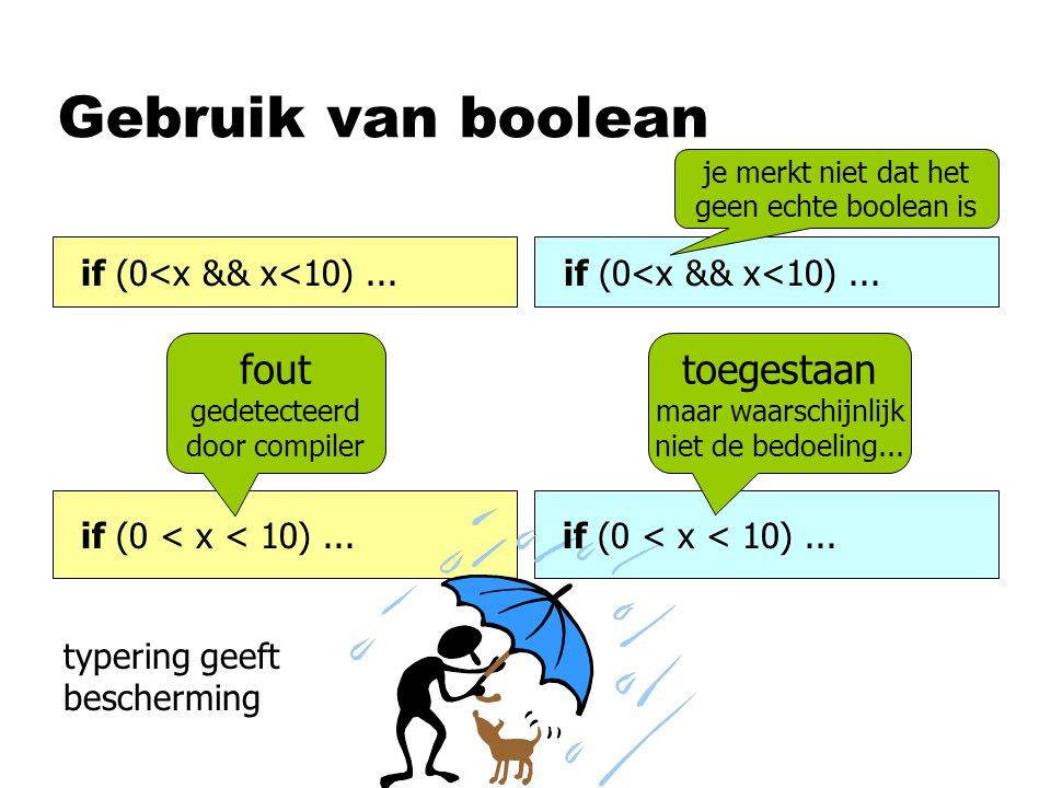 Gebruik van boolean if (0<x && x<10)... if (0 < x < 10)... je merkt niet dat het geen echte boolean is fout gedetecteerd door compiler toegestaan maar