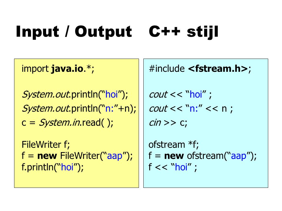Input / Output C++ stijl import java.io.*;#include ; System.out.println( hoi );cout << hoi ; System.out.println( n: +n);cout << n: << n ; c = System.in.read( );cin >> c; FileWriter f; f = new FileWriter( aap ); f.println( hoi ); ofstream *f; f = new ofstream( aap ); f << hoi ;