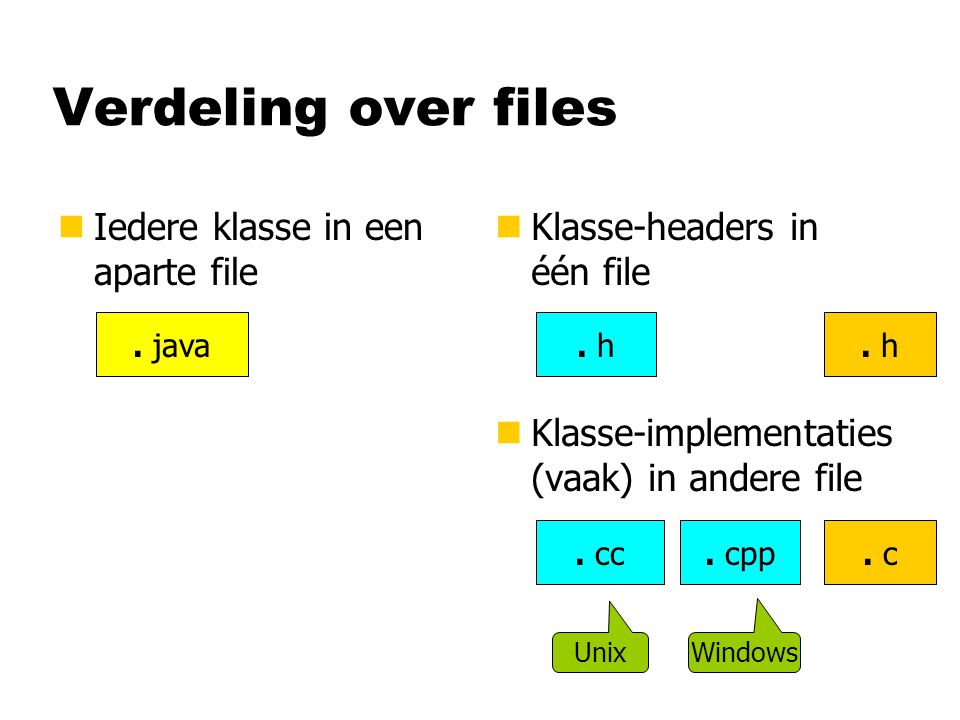 Verdeling over files nIedere klasse in een aparte file n Klasse-headers in één file n Klasse-implementaties (vaak) in andere file.
