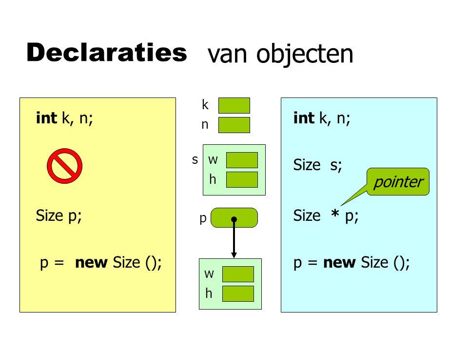 Strings String s; s = aap ; s s 'a' 'p' 3 char *s; s = new char[10]; strcpy (s, aap ); s = s.concat ( je ); strcat (s, je ); 'a' 'p' 5 'j' 'e' 'a' 'p' 0 'j' 'e' 'a' 'p' 0 zorg voor voldoende ruimte!