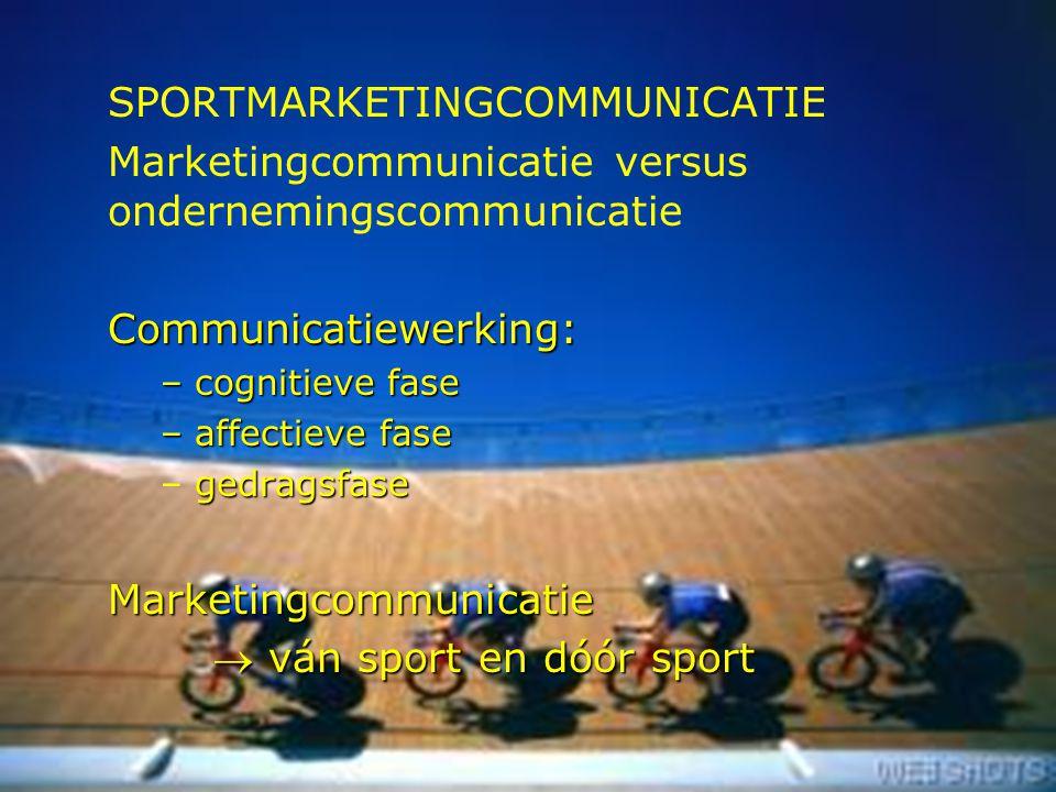 10 SPORTMARKETINGCOMMUNICATIE Marketingcommunicatie versus ondernemingscommunicatieCommunicatiewerking: – cognitieve fase – affectieve fase gedragsfas