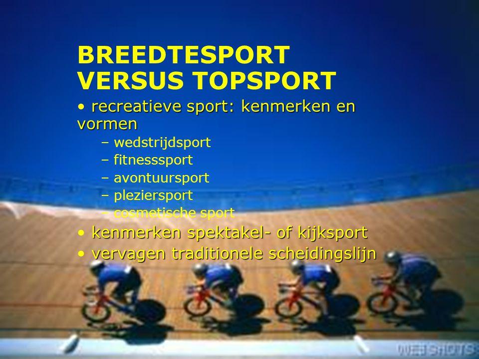 7 BREEDTESPORT VERSUS TOPSPORT recreatieve sport: kenmerken en vormen – wedstrijdsport – fitnesssport – avontuursport – pleziersport – cosmetische spo