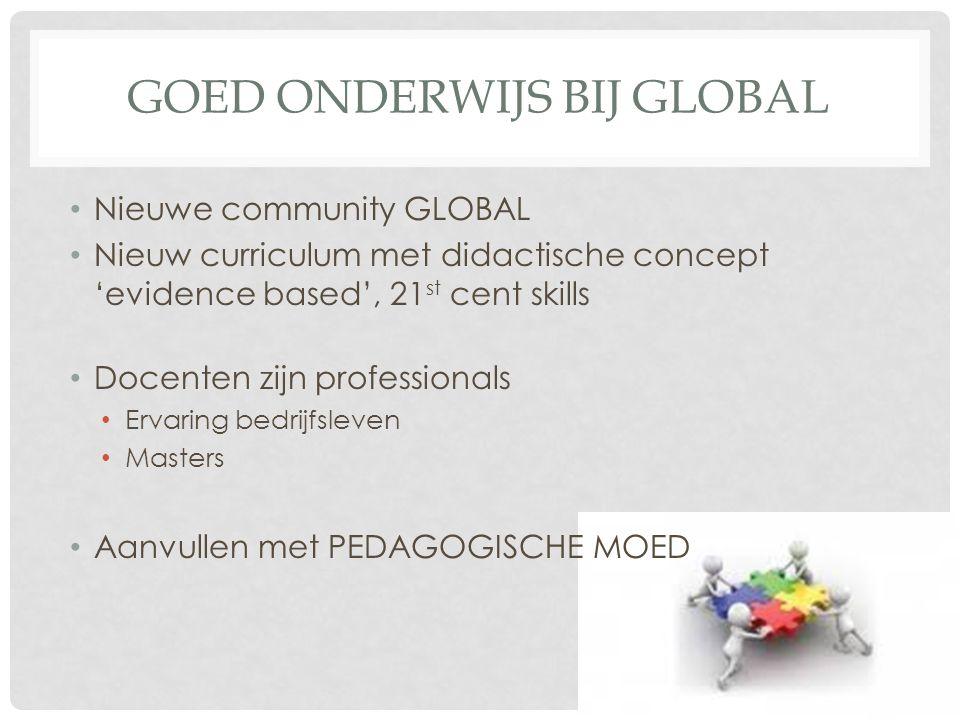 GOED ONDERWIJS BIJ GLOBAL Nieuwe community GLOBAL Nieuw curriculum met didactische concept 'evidence based', 21 st cent skills Docenten zijn professionals Ervaring bedrijfsleven Masters Aanvullen met PEDAGOGISCHE MOED
