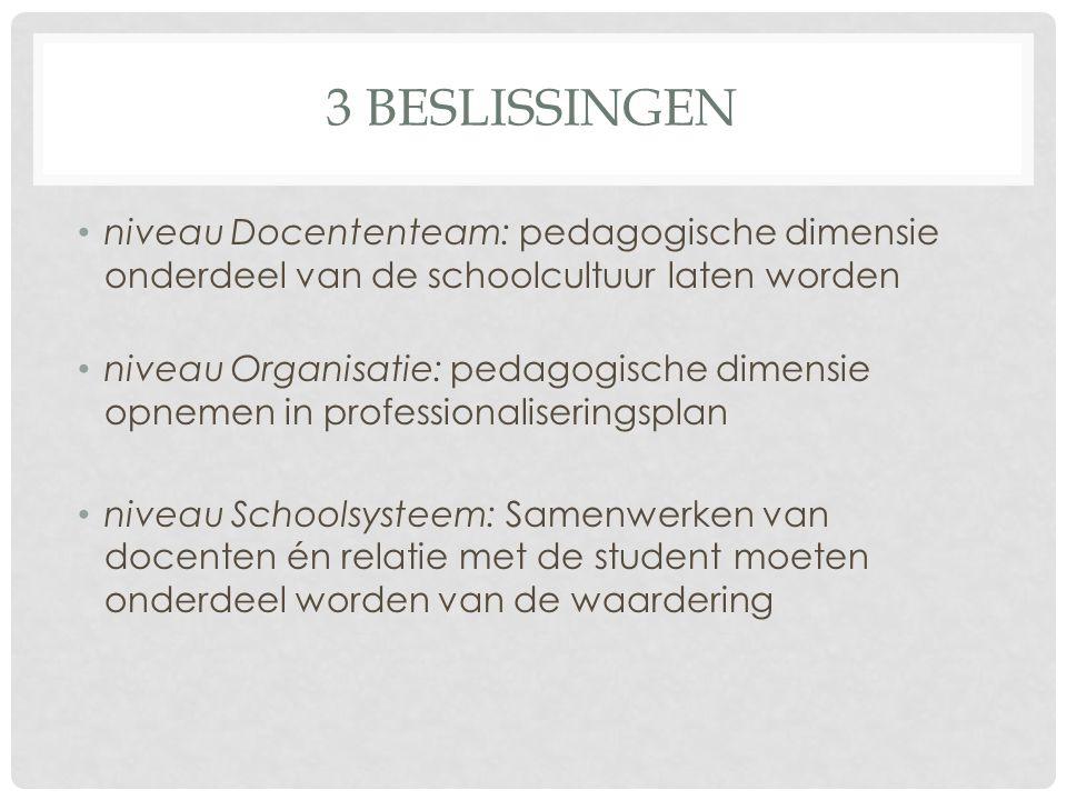 3 BESLISSINGEN niveau Docententeam: pedagogische dimensie onderdeel van de schoolcultuur laten worden niveau Organisatie: pedagogische dimensie opnemen in professionaliseringsplan niveau Schoolsysteem: Samenwerken van docenten én relatie met de student moeten onderdeel worden van de waardering