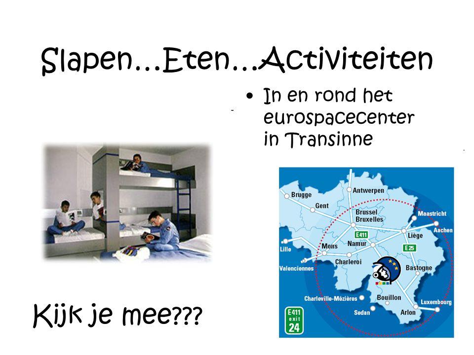 Slapen…Eten…Activiteiten In en rond het eurospacecenter in Transinne Kijk je mee???