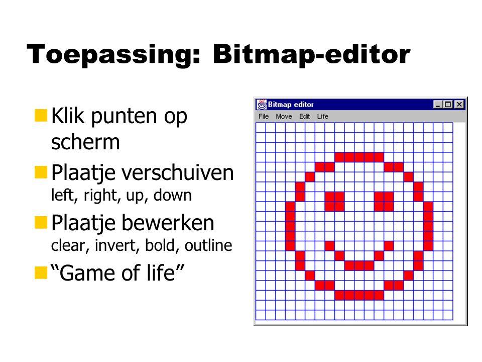 nKlik punten op scherm nPlaatje verschuiven left, right, up, down nPlaatje bewerken clear, invert, bold, outline n Game of life