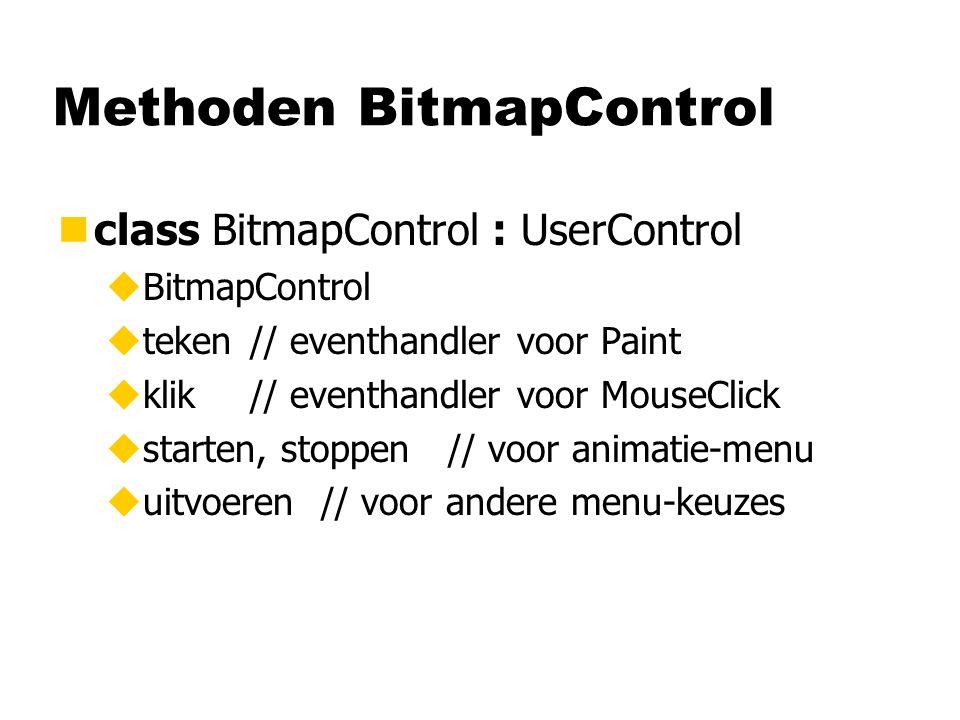 Methoden BitmapControl nclass BitmapControl : UserControl uBitmapControl uteken// eventhandler voor Paint uklik// eventhandler voor MouseClick ustarten, stoppen // voor animatie-menu uuitvoeren // voor andere menu-keuzes