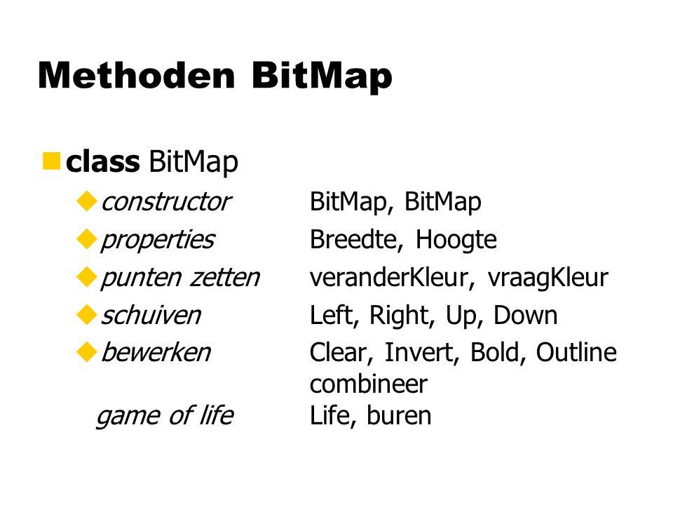 Methoden BitMap nclass BitMap uconstructorBitMap, BitMap upropertiesBreedte, Hoogte upunten zettenveranderKleur, vraagKleur uschuivenLeft, Right, Up, Down ubewerkenClear, Invert, Bold, Outline combineer game of lifeLife, buren