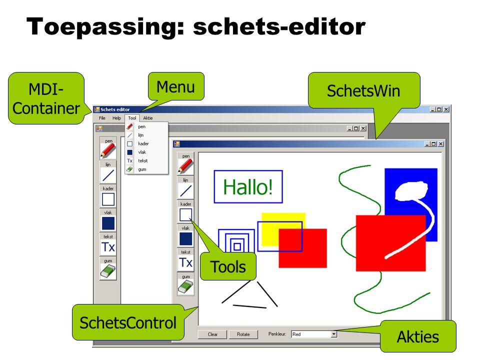 Toepassing: schets-editor SchetsWin Tools Akties Menu MDI- Container SchetsControl