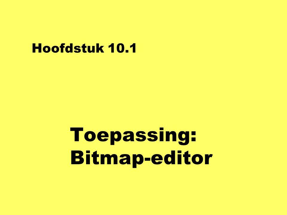Methoden BitmapControl nclass BitmapControl : UserControl uBitmapControl uteken// eventhandler voor Paint uklik// eventhandler voor MouseClick ustarten, stoppen // voor animatie-menu uuitvoeren // voor andere menu-keuzes membervariabele: Bitmap model;