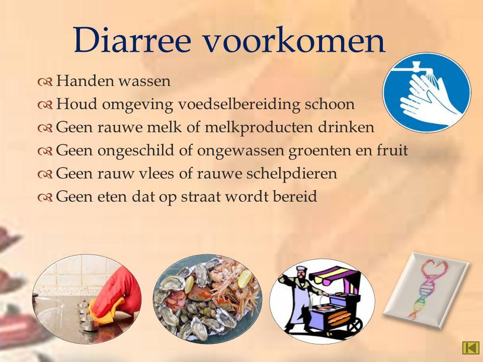   Handen wassen  Houd omgeving voedselbereiding schoon  Geen rauwe melk of melkproducten drinken  Geen ongeschild of ongewassen groenten en fruit