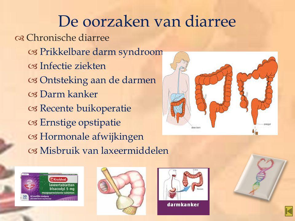   Chronische diarree  Prikkelbare darm syndroom  Infectie ziekten  Ontsteking aan de darmen  Darm kanker  Recente buikoperatie  Ernstige opsti