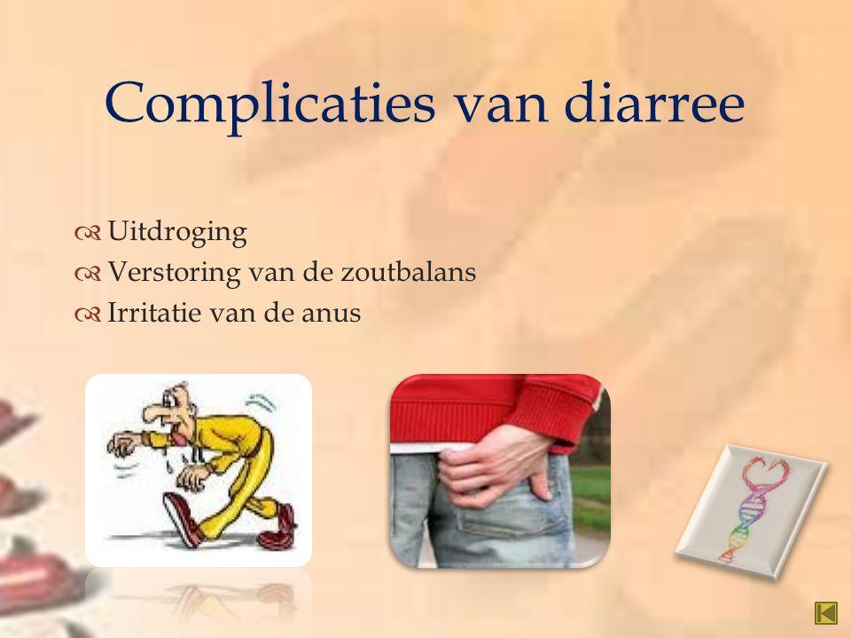   Uitdroging  Verstoring van de zoutbalans  Irritatie van de anus Complicaties van diarree