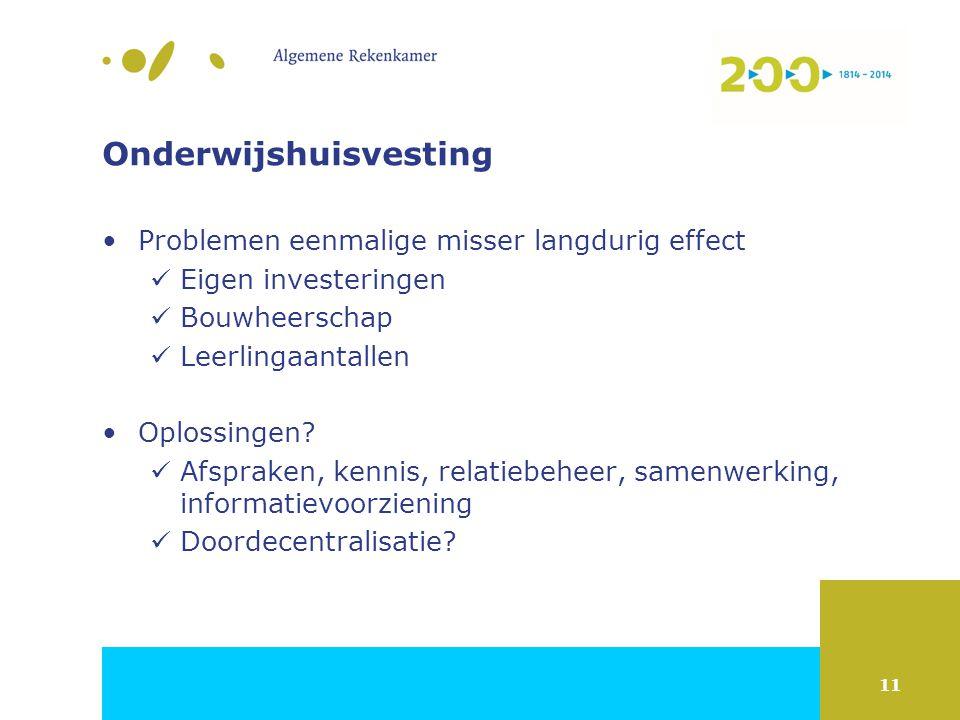 11 Onderwijshuisvesting Problemen eenmalige misser langdurig effect Eigen investeringen Bouwheerschap Leerlingaantallen Oplossingen.