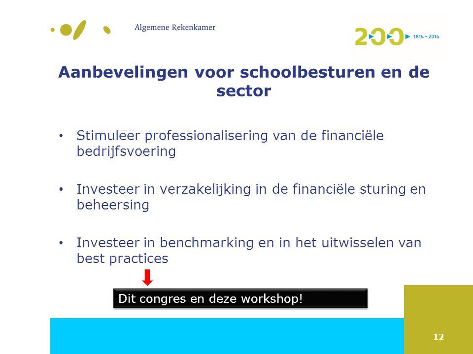 12 Aanbevelingen voor schoolbesturen en de sector Stimuleer professionalisering van de financiële bedrijfsvoering Investeer in verzakelijking in de financiële sturing en beheersing Investeer in benchmarking en in het uitwisselen van best practices Dit congres en deze workshop!