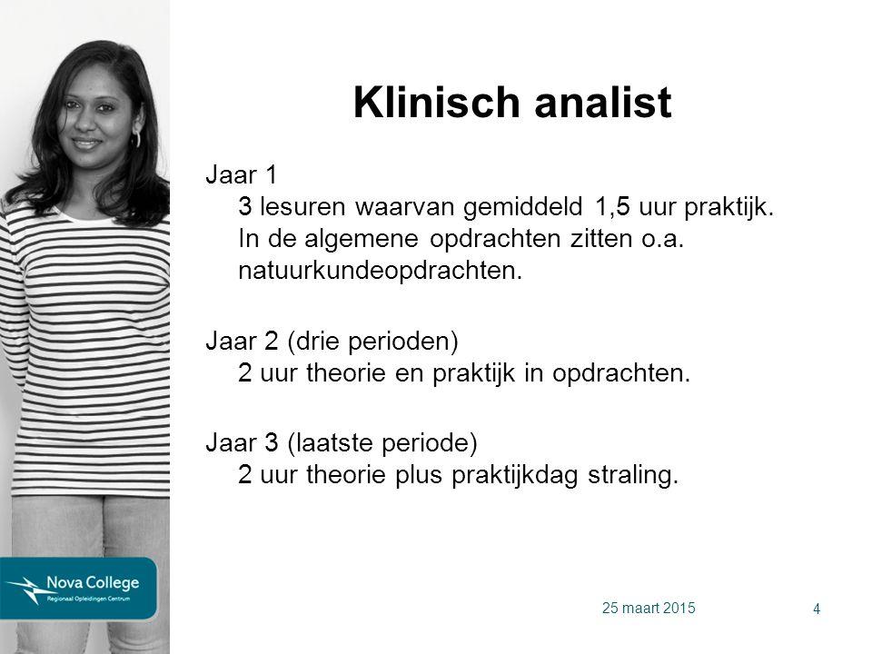 Biotechnologisch analist Jaar 1 3 lesuren waarvan gemiddeld 1,5 uur praktijk.