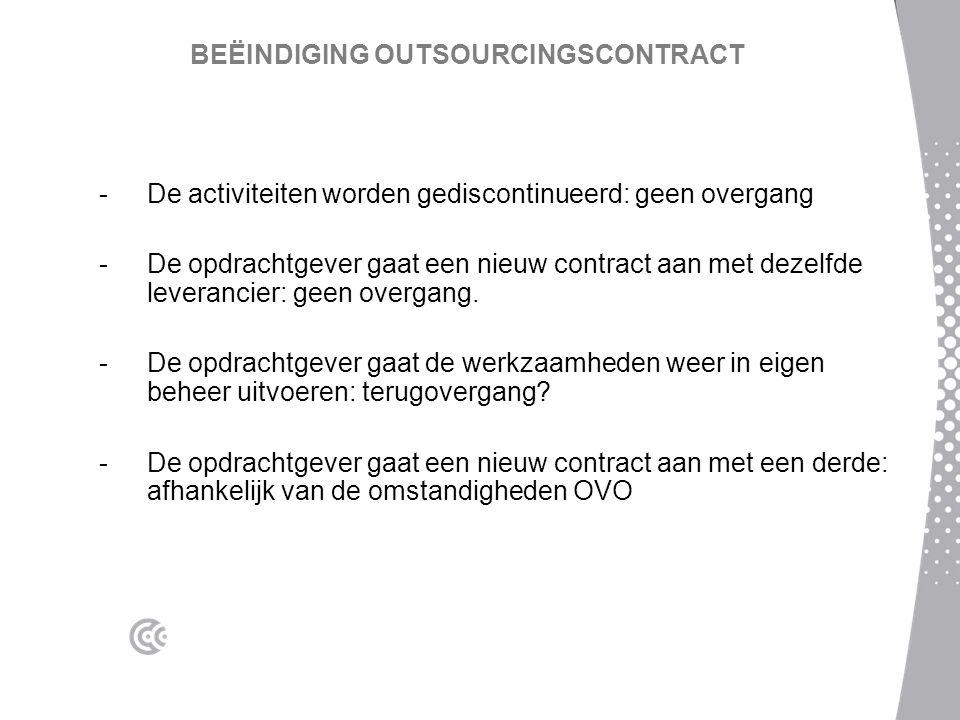 BEËINDIGING OUTSOURCINGSCONTRACT -De activiteiten worden gediscontinueerd: geen overgang -De opdrachtgever gaat een nieuw contract aan met dezelfde leverancier: geen overgang.