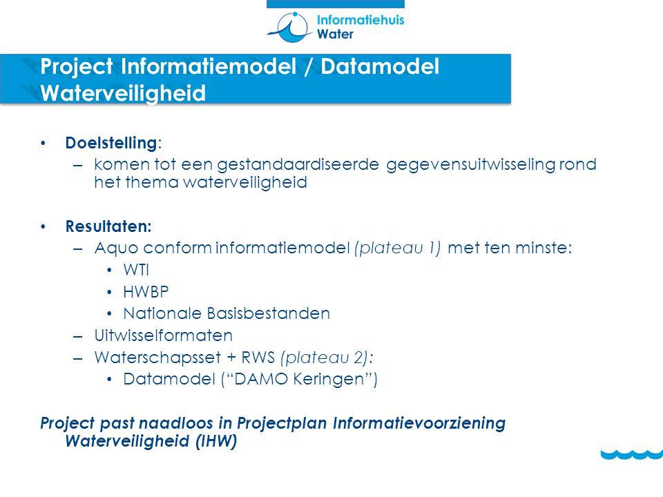 Project Informatiemodel / Datamodel Waterveiligheid Doelstelling : – komen tot een gestandaardiseerde gegevensuitwisseling rond het thema waterveiligh