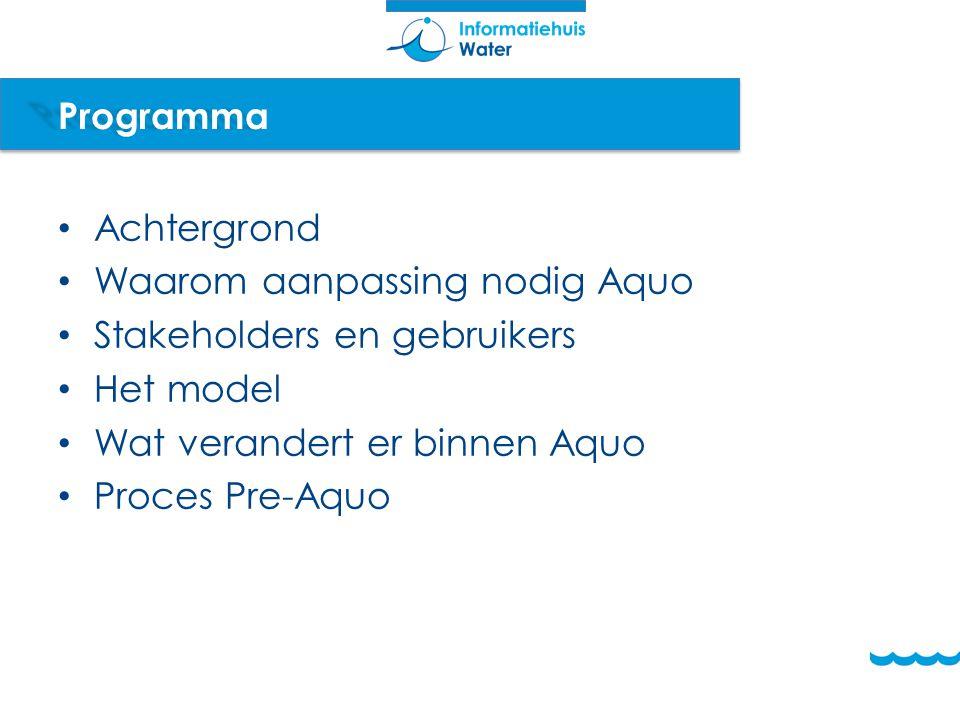 Programma Achtergrond Waarom aanpassing nodig Aquo Stakeholders en gebruikers Het model Wat verandert er binnen Aquo Proces Pre-Aquo