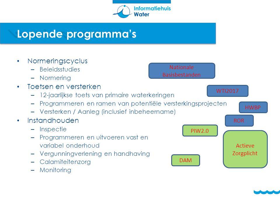 Lopende programma's Normeringscyclus – Beleidsstudies – Normering Toetsen en versterken – 12-jaarlijkse toets van primaire waterkeringen – Programmere