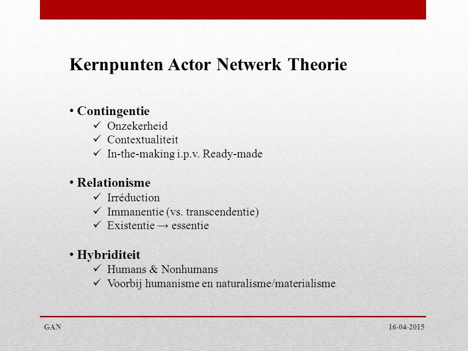 16-04-2015GAN Kernpunten Actor Netwerk Theorie Contingentie Onzekerheid Contextualiteit In-the-making i.p.v. Ready-made Relationisme Irréduction Imman