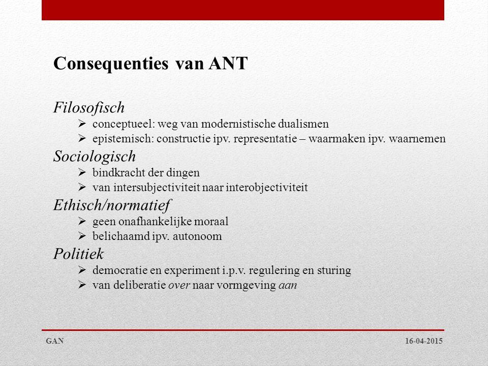 16-04-2015GAN Consequenties van ANT Filosofisch  conceptueel: weg van modernistische dualismen  epistemisch: constructie ipv.