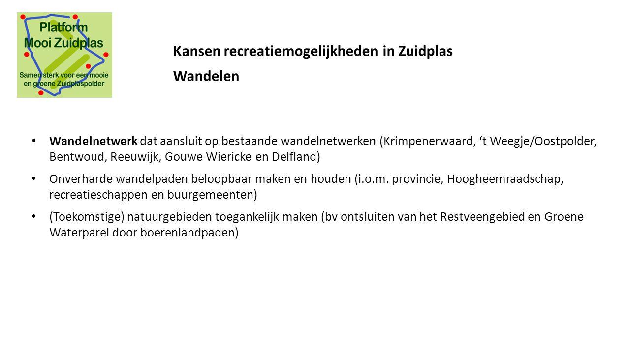 Wandelnetwerk dat aansluit op bestaande wandelnetwerken (Krimpenerwaard, 't Weegje/Oostpolder, Bentwoud, Reeuwijk, Gouwe Wiericke en Delfland) Onverha
