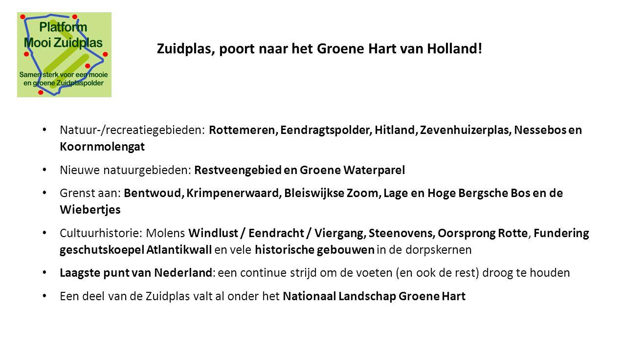 Natuur-/recreatiegebieden: Rottemeren, Eendragtspolder, Hitland, Zevenhuizerplas, Nessebos en Koornmolengat Nieuwe natuurgebieden: Restveengebied en G