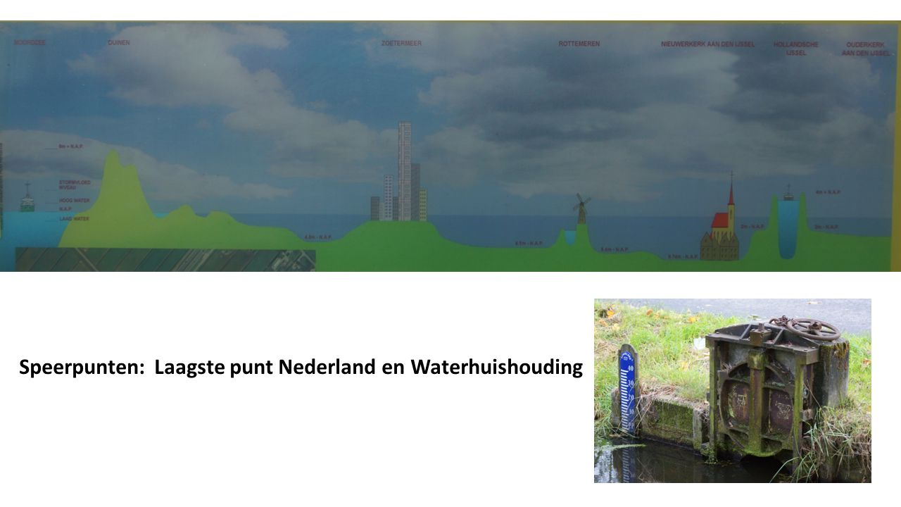 -- - -- - -- - -- - -- - -- - -- - -- NAP - -- -1 - -- -2 - -- -3 - -- -4 - -- -5 - -- -6 - -- 6.76 m Laagste Punt van Nederland (en Europa): Veenafgraving vanaf eind Middeleeuwen (15 e eeuw) Drooglegging 'verderfelijke binnenzee' Zuidplas in 1840 Door 30 windgedreven poldermolens met steun van 2 stoomgemalen Laagste punt 6.76 meter beneden Normaal Amsterdams Peil Nog steeds inklinkende veenbodem Zeeklei, kattenklei, moer, restveen en kreekruggen Hoge kweldruk (vanuit Krimpenerwaard)