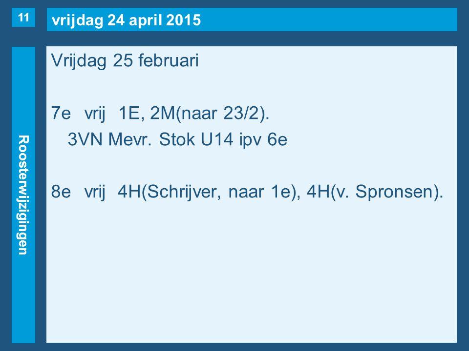 vrijdag 24 april 2015 Roosterwijzigingen Vrijdag 25 februari 7evrij1E, 2M(naar 23/2).