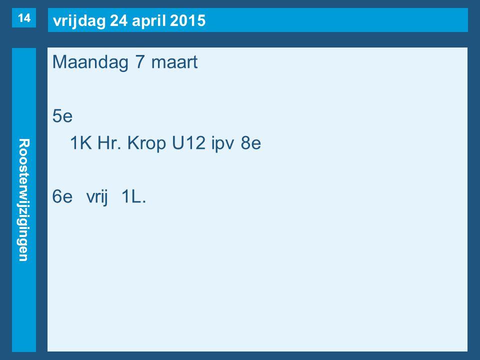 vrijdag 24 april 2015 Roosterwijzigingen Maandag 7 maart 5e 1K Hr. Krop U12 ipv 8e 6evrij1L. 14
