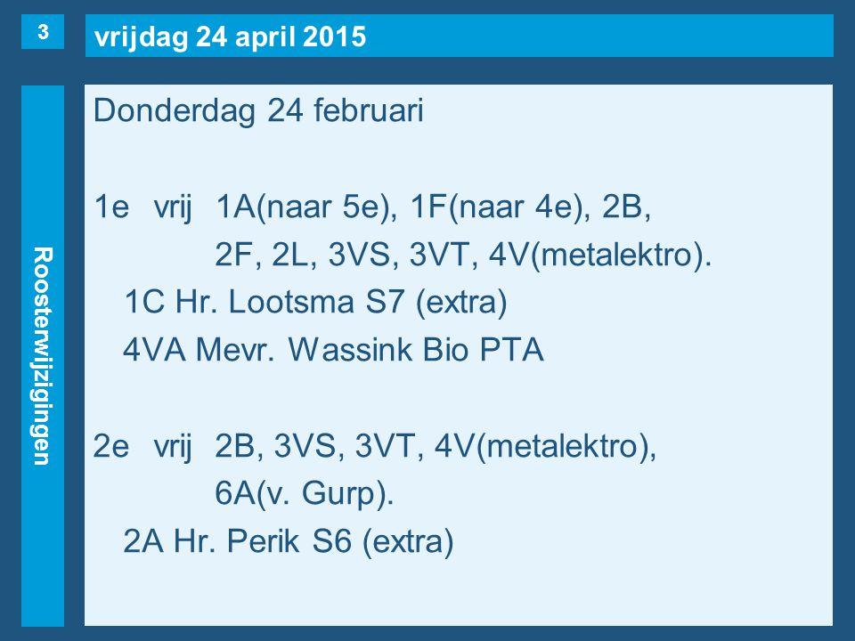 vrijdag 24 april 2015 Roosterwijzigingen Donderdag 24 februari 1evrij1A(naar 5e), 1F(naar 4e), 2B, 2F, 2L, 3VS, 3VT, 4V(metalektro).