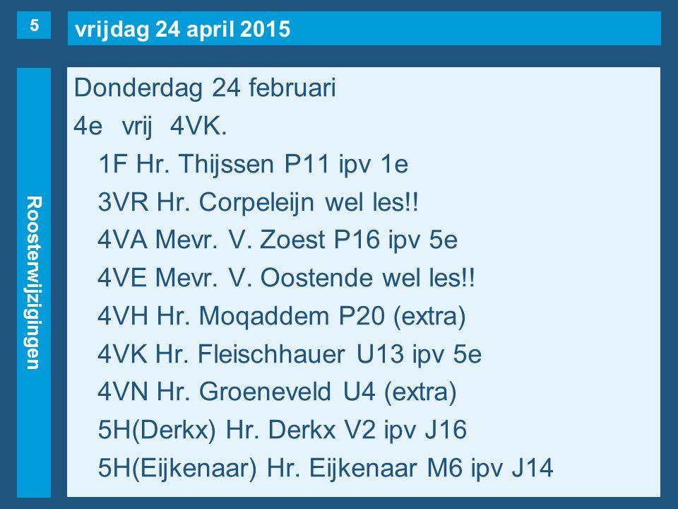 vrijdag 24 april 2015 Roosterwijzigingen Donderdag 24 februari 5evrij2F, 4VA(naar 4e), 4VN.