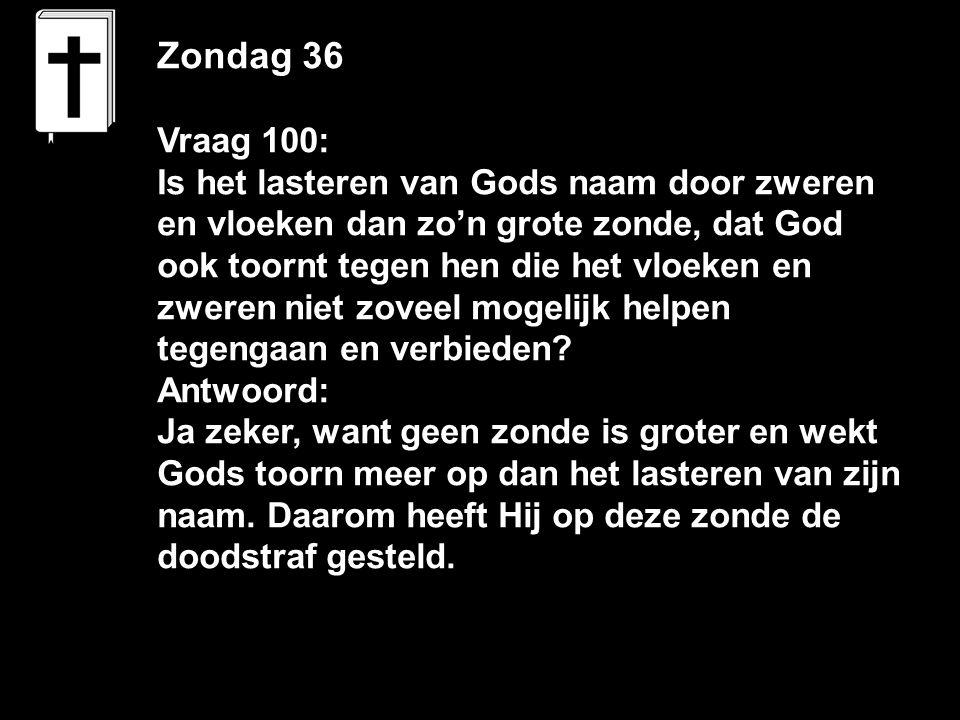 Zondag 36 Vraag 100: Is het lasteren van Gods naam door zweren en vloeken dan zo'n grote zonde, dat God ook toornt tegen hen die het vloeken en zweren niet zoveel mogelijk helpen tegengaan en verbieden.