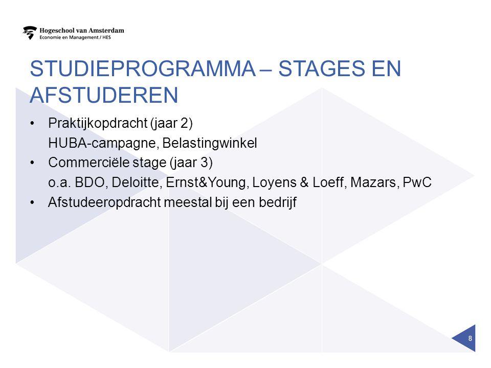 STUDIEPROGRAMMA – STAGES EN AFSTUDEREN Praktijkopdracht (jaar 2) HUBA-campagne, Belastingwinkel Commerciële stage (jaar 3) o.a. BDO, Deloitte, Ernst&Y
