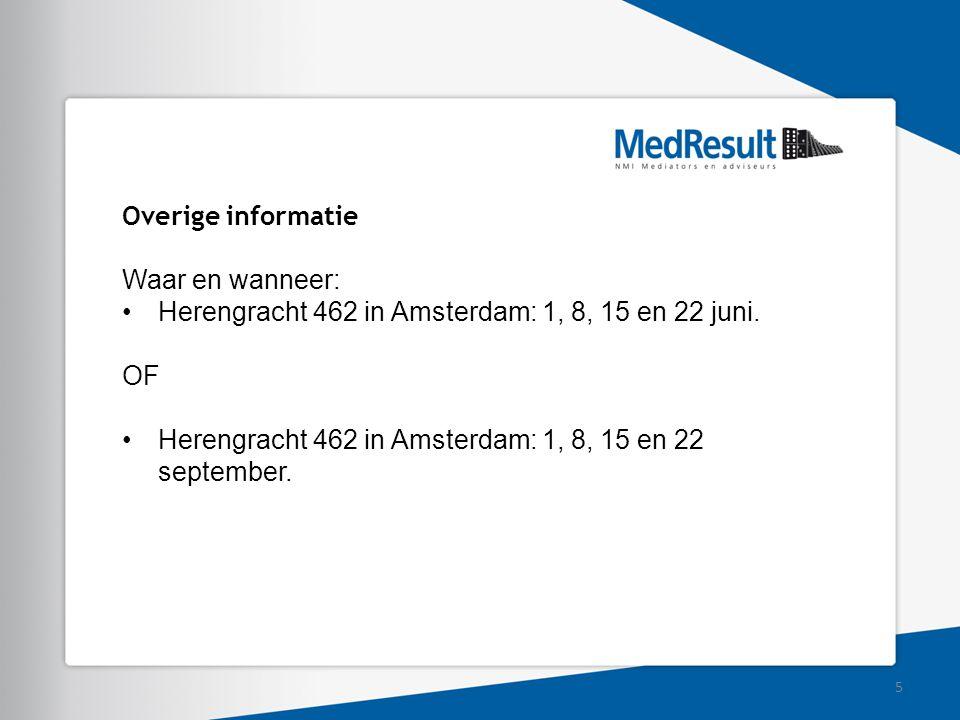 Overige informatie Waar en wanneer: Herengracht 462 in Amsterdam: 1, 8, 15 en 22 juni. OF Herengracht 462 in Amsterdam: 1, 8, 15 en 22 september. 5