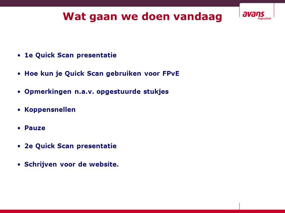 Wat gaan we doen vandaag 1e Quick Scan presentatie Hoe kun je Quick Scan gebruiken voor FPvE Opmerkingen n.a.v. opgestuurde stukjes Koppensnellen Pauz