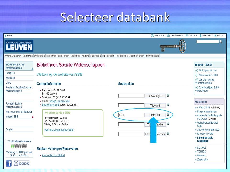Selecteer databank
