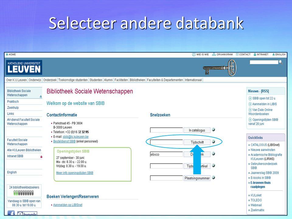 Selecteer andere databank