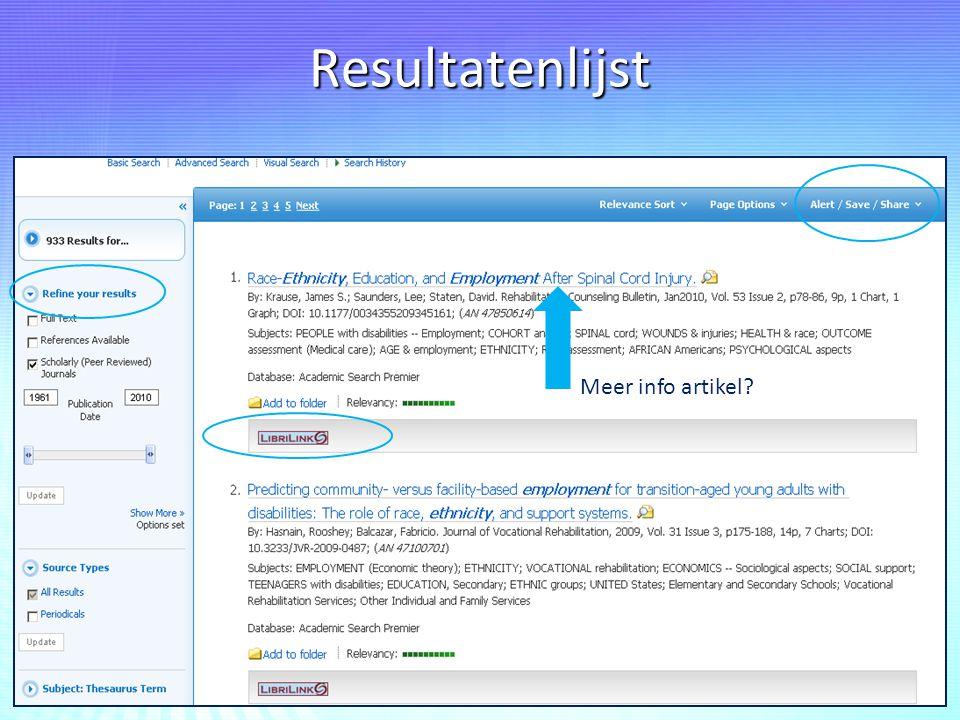Resultatenlijst Meer info artikel?