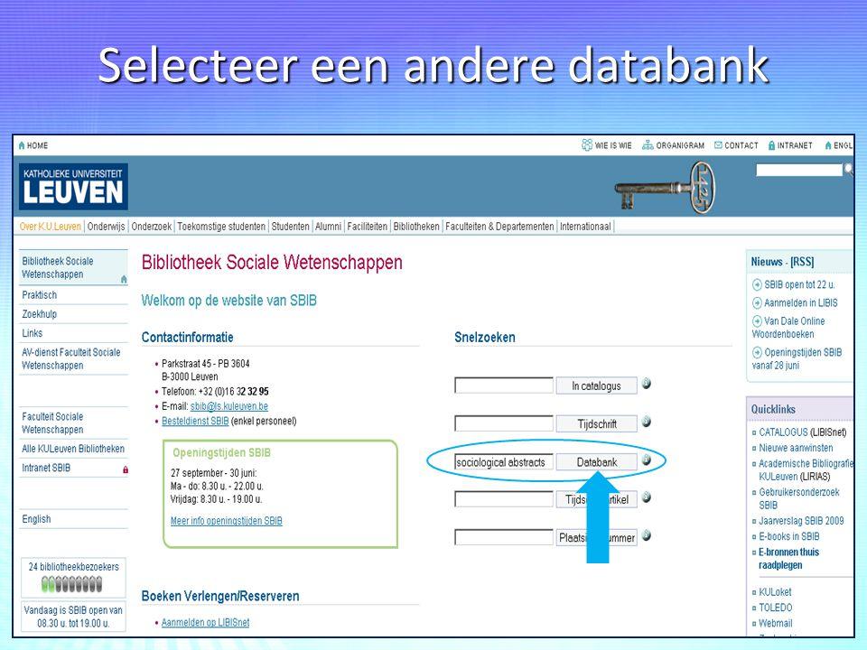 Selecteer een andere databank