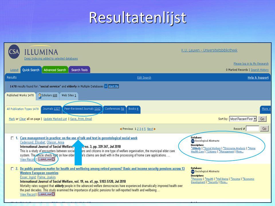 Resultatenlijst