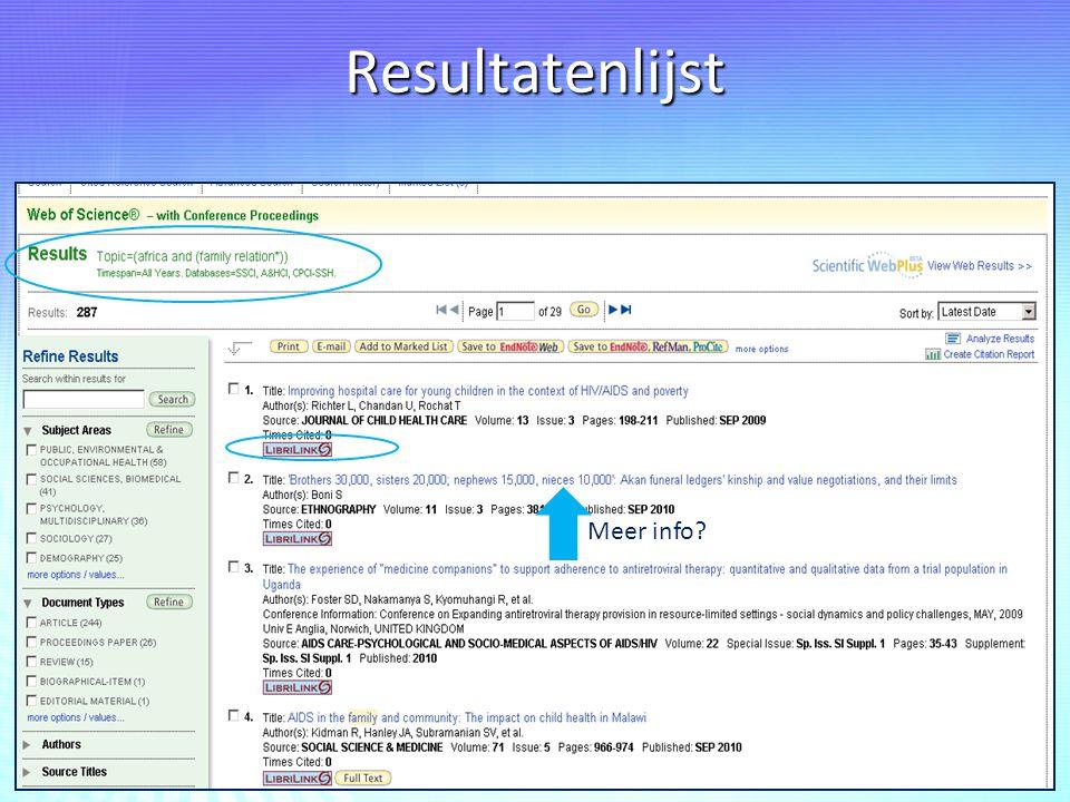 Resultatenlijst Meer info?