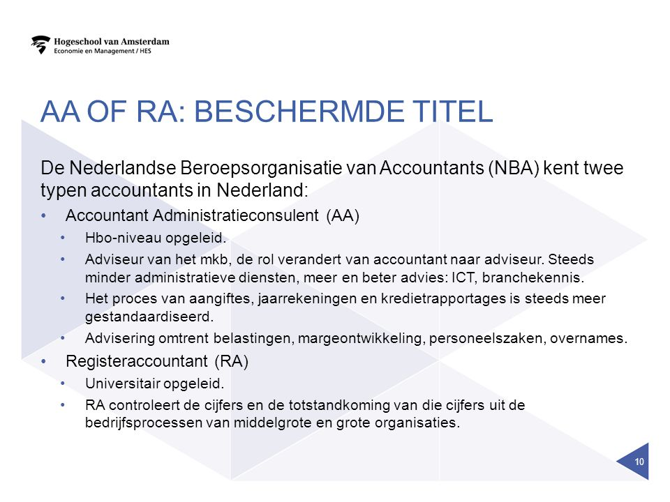 AA OF RA: BESCHERMDE TITEL De Nederlandse Beroepsorganisatie van Accountants (NBA) kent twee typen accountants in Nederland: Accountant Administratieconsulent (AA) Hbo-niveau opgeleid.