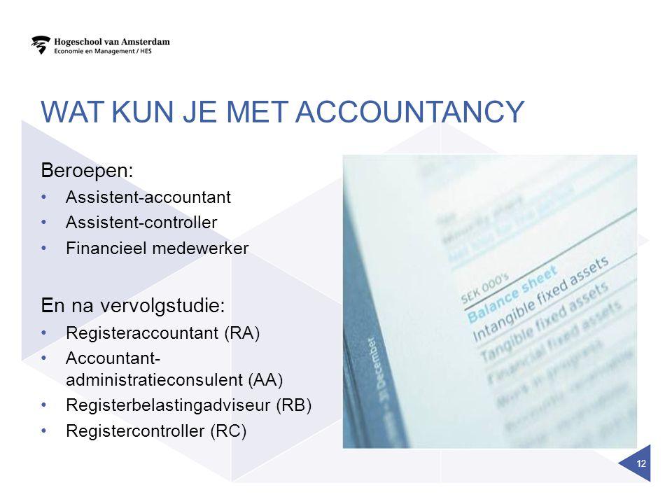 WAT KUN JE MET ACCOUNTANCY Beroepen: Assistent-accountant Assistent-controller Financieel medewerker En na vervolgstudie: Registeraccountant (RA) Accountant- administratieconsulent (AA) Registerbelastingadviseur (RB) Registercontroller (RC) 12