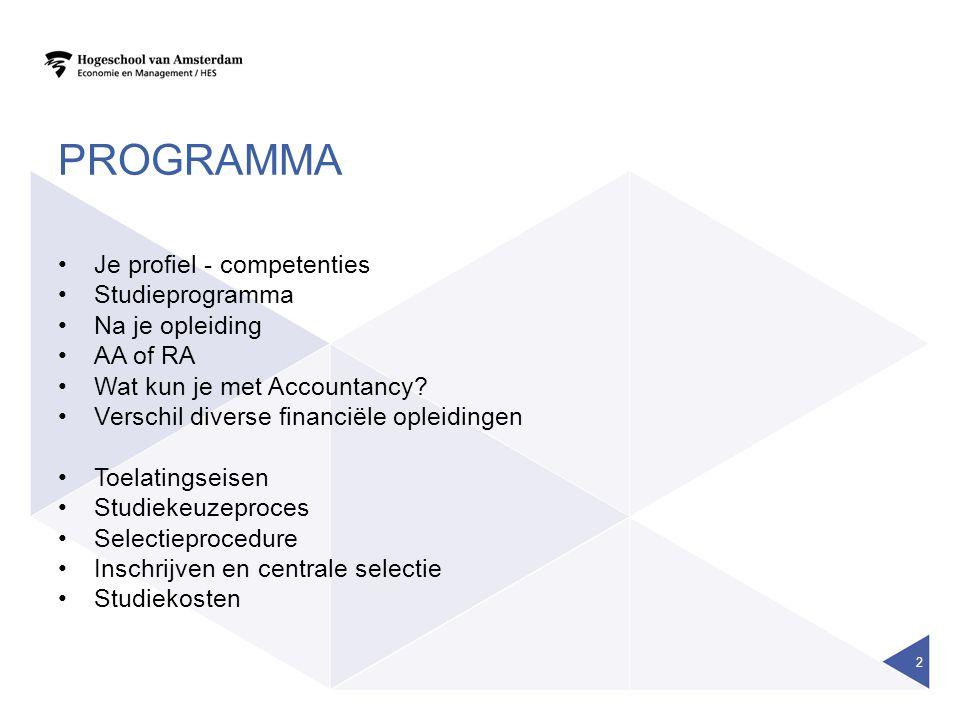 PROGRAMMA Je profiel - competenties Studieprogramma Na je opleiding AA of RA Wat kun je met Accountancy.