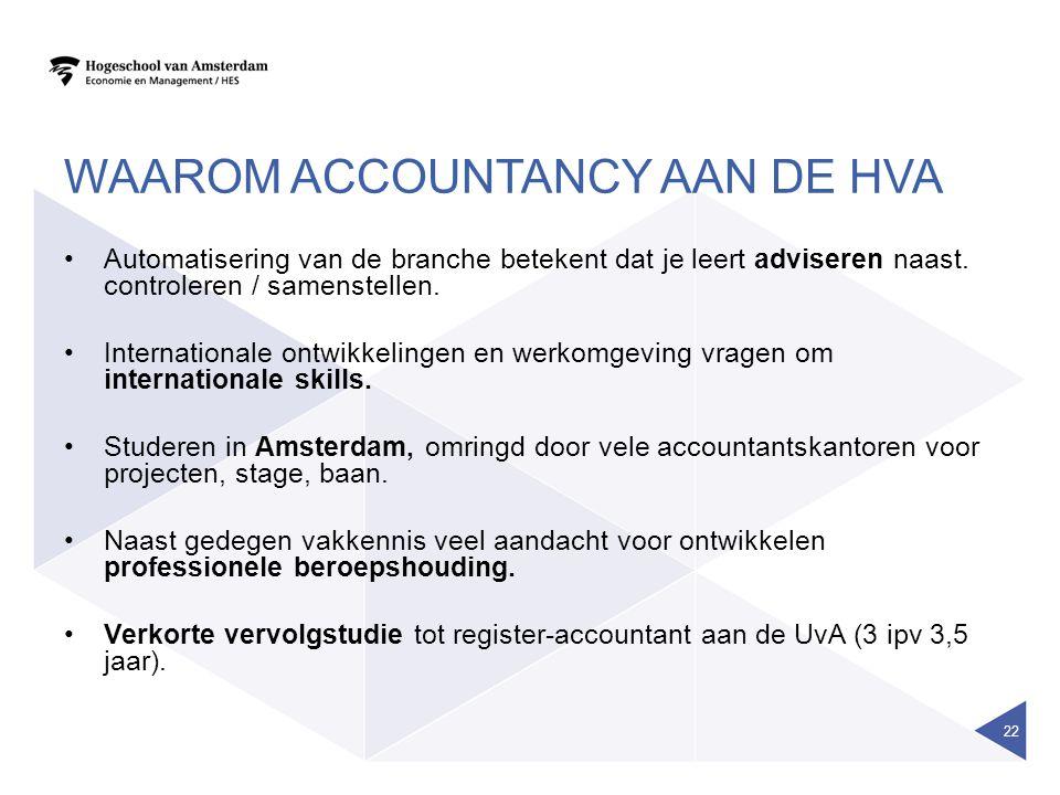 WAAROM ACCOUNTANCY AAN DE HVA Automatisering van de branche betekent dat je leert adviseren naast.